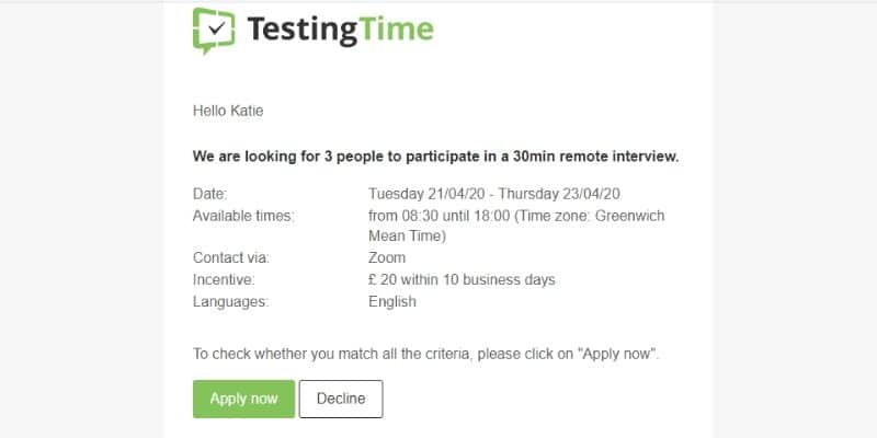 testing time opportunity